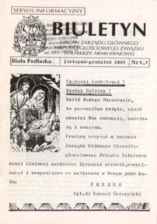 """Biuletyn : organ Zarządu Głównego Niepodległościowego Związku Zołnierzy Armii Krajowej : serwis informacyjny """"S"""" (II) R. 3 (1999) nr 6-7 (listopad - grudzień)"""