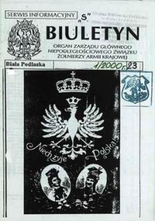 """Biuletyn : organ Zarządu Głównego Niepodległościowego Związku Zołnierzy Armii Krajowej : serwis informacyjny """"S"""" R. 4 (2000) nr 1 (23)"""