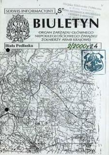 """Biuletyn : organ Zarządu Głównego Niepodległościowego Związku Zołnierzy Armii Krajowej : serwis informacyjny """"S"""" R. 4 (2000) nr 2 (24)"""