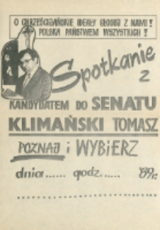 Plakat wyborczy kandydata na senatora Tomasza Klimańskiego
