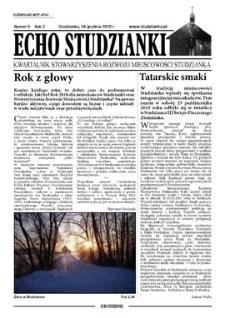 Echo Studzianki : kwartalnik Stowarzyszenia Rozwoju Miejscowości Studzianka R. 2 (2010) nr 6