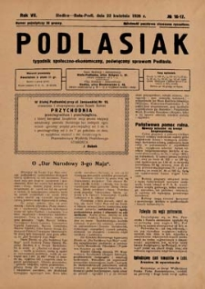 Podlasiak : tygodnik polityczno-społeczno-narodowy, poświęcony sprawom ludu podlaskiego R. 7 (1928) nr 16-17