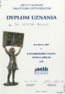 Dyplom : [Inc.:] Dyplom uznania dla pani Krystyny Nowickiej za aktywny udział w II OgólnopolskimTygodniu Czytania Dzieciom