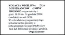 Ulotka : [Inc.:] Kolacja wigilijna dla mieszkanców gminy Rossosz rozpocznie się o godz. 16.00 [...]