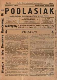 Podlasiak : tygodnik polityczno-społeczno-narodowy, poświęcony sprawom ludu podlaskiego R. 9 (1930) nr 45