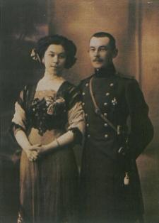 Ślub cywilny Heleny z Iljasewiczów (1892-1991) z Małaszewicz Małych i kpt. Hassana Konopackiego z Syberyjskiego Dywizjonu Rezerwowego [fotografia]