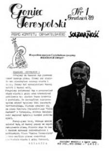 Goniec Terespolski : Pismo Przyjaciół Terespola i okolic: Pismo Stowarzyszenia Rozwoju Gminy Miejskiej Terespol : Pismo Miejskiego Ośrodka Kultury w Terespolu Nr 1 (1989)