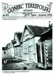 Goniec Terespolski : Pismo Przyjaciół Terespola i okolic: Pismo Stowarzyszenia Rozwoju Gminy Miejskiej Terespol : Pismo Miejskiego Ośrodka Kultury w Terespolu Nr 61, 4 (2002)