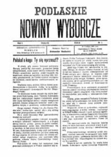 Podlaskie Nowiny Wyborcze R. 1 (1922) nr 1