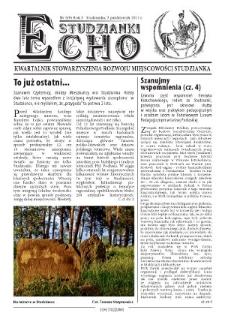 Echo Studzianki : kwartalnik Stowarzyszenia Rozwoju Miejscowości Studzianka R. 3 (2011) nr 3 (9)