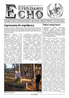 Echo Studzianki : kwartalnik Stowarzyszenia Rozwoju Miejscowości Studzianka R. 3 (2011) nr 4 (10)
