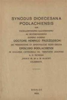 Synod diecezjalny podlaski pod przewodnictwem [...] Henryka Przeździeckiego [...] w kościele katedralnym Trójcy Przenajświętszej w Janowie r. p. 1923 w dn. 28, 29, 30 sierpnia odbyty