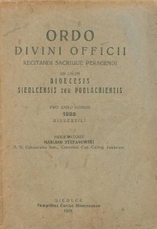 Ordo Divini Officci Recitandi Sacrique Peragendi ad usum Dioecesis Podlachiensis seu Janoviensis pro Anno Domini 1928