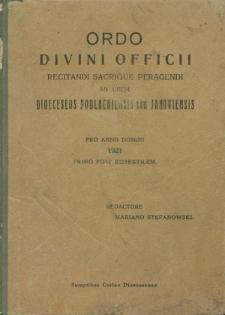 Ordo Divini Officci Recitandi Sacrique Peragendi ad usum Dioecesis Podlachiensis seu Janoviensis pro Anno Domini 1921