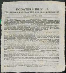 Dziennik Urzędowy Gubernii Lubelskiej 1853 nr 13 (dodatek)