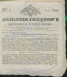Dziennik Urzędowy Gubernii Lubelskiej 1840 nr 6