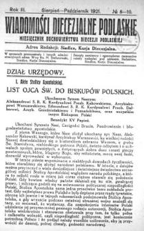 Wiadomości Diecezjalne Podlaskie R. 3 (1921) nr 8-10