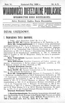 Wiadomości Diecezjalne Podlaskie R. 6 (1924) nr 4-5