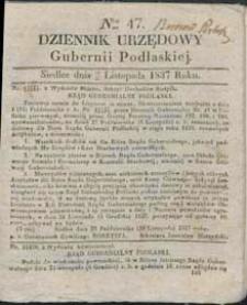 Dziennik Urzędowy Gubernii Podlaskiej 1837 nr 47