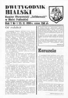 """Dwutygodnik Bialski : Komitet Obywatelski i NSZZ """"Solidarność"""" w Białej Podlaskiej R. 1 (1990) nr 1"""
