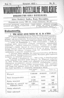 Wiadomości Diecezjalne Podlaskie R. 4 (1922) nr 8