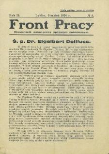 Front Pracy : miesięcznik poświęcony sprawom robotniczym R. 2 (1934) nr 8