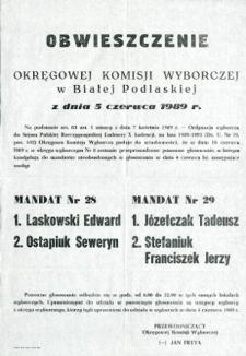 Obwieszczenie Okręgowej Komisji Wyborczej w Białej Podlaskiej o przeprowadzeniu ponownego głosowania w okręgu wyborczym nr 8 w dniu 18 czerwca 1989 do nieobsadzonych mandatów nr 28 i 29