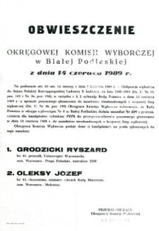 Obwieszczenie Okręgowej Komisji Wyborczej w Białej Podlaskiej o przeprowadzeniu ponownego głosowania w okręgu wyborczym nr 8 w dniu 14 czerwca 1989 do mandatów nieobsadzonych z krajowej listy wyborczej mandat nr 429