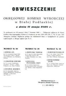 Obwieszczenie Okręgowej Komisji Wyborczej w Białej Podlaskiej z dnia 11 maja 1989 roku o kandydatach na posłów wybieranych w okręgu wyborczym nr 8