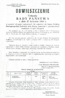 Obwieszczenie Uchwała Rady Państwa z dnia 13 kwietnia 1989 r. w sprawie okręgów wyborczych w wyborach do Sejmu... m.in. okręgu wyborczego nr 8 obejmującego woj. bialskopodlaskie