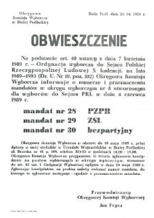 Obwieszczenie Okręgowej Komisji Wyborczej w Białej Podlaskiej o numerze i przeznaczeniu mandatów w okręgu wyborczym nr 8
