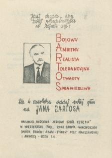 Ulotka wyborcza kandydata na posła Jana Bartosa