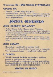 Ulotka wyborcza kandydata na posła Józefa Oleksego