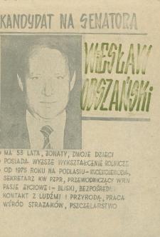 Ulotka wyborcza kandydata na senatora Wiesława Obszańskiego