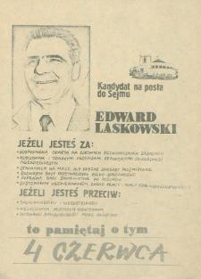 Ulotka wyborcza kandydata na posła do Sejmu Edwarda Laskowskiego