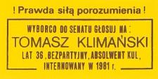 Ulotka wyborcza kandydata na senatora Tomasza Klimańskiego