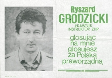 Ulotka wyborcza kandydata na posła Ryszarda Grodzickiego