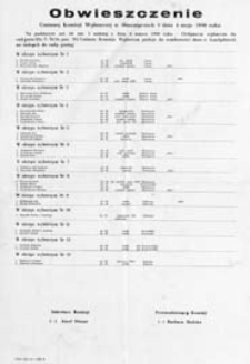 Obwieszczenie Gminnej Komisji Wyborczej w Sławatyczach z dn. 4 maja 1990 o kandydatach na radnych do rady gminy