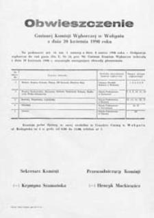 Obwieszczenie Gminnej Komisji Wyborczej w Wohyniu z dn. 20 kwietnia 1990 o utworzeniu obwodów głosowania w gminie