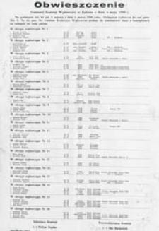 Obwieszczenie Gminnej Komisji Wyborczej w Zalesiu z dn. 4 maja 1990 o kandydatach na radnych do rady gminy