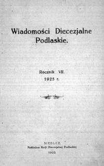 Wiadomości Diecezjalne Podlaskie R. 7 (1925) skorowidz