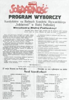 """Plakat z programem wyborczym kandydatów na radnych Komitetu Obywatelskiego """"Solidarność"""" w Białej Podlaskiej"""