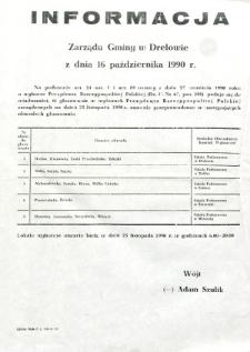 Informacja Zarządu Gminy w Drelowie z dnia 16 października 1990 roku o obwodach głosowania w gminie wyborach Prezydenta Rzeczypospolitej Polskiej