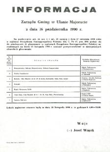 Informacja Zarządu Gminy w Ulanie Majoracie z dnia 16 października 1990 roku o obwodach głosowania w wyborach Prezydenta Rzeczypospolitej Polskiej