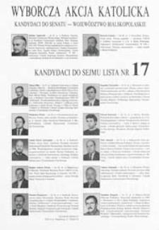 Ulotka Wyborczej Akcji Katolickiej kandydatów do Senatu z województwa bialskopodlaskiego i kandydatów do Sejmu - lista nr 17