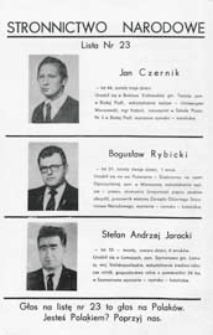 Ulotka wyborcza kandydatów do Sejmu 1991 r. z listy nr 23 Stronnictwa Narodowego w okręgu wyborczym bialskopodlasko-siedleckim