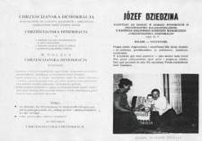 Ulotka wyborcza kandydata na senatora Józefa Dziedziny