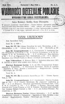 Wiadomości Diecezjalne Podlaskie R. 8 (1926) nr 4-5