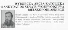 """Ulotka wyborcza kandydata na senatora Komitetu Wyborczego """"Wyborcza Akcja Katolicka"""" - Ryszarda Gałązki"""