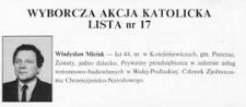 """Ulotka wyborcza kandydata na posła """"Wyborczej Akcji Katolickiej"""" - Władysława Miciuka"""